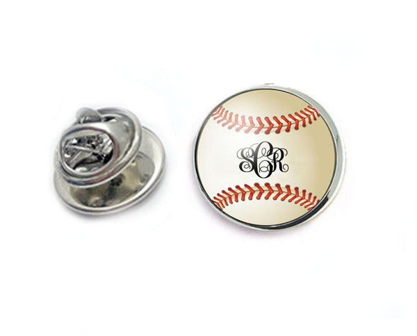 Silver Monogram Baseball Tie Tack, Tie Pin - Jewelrylized.com