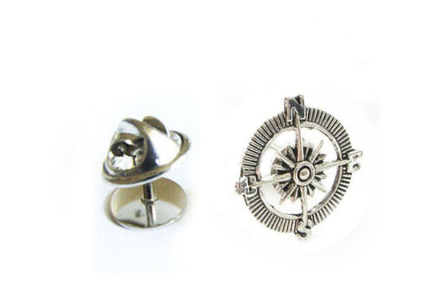 Compass Antiqued Silver Tie Tack - Jewelrylized