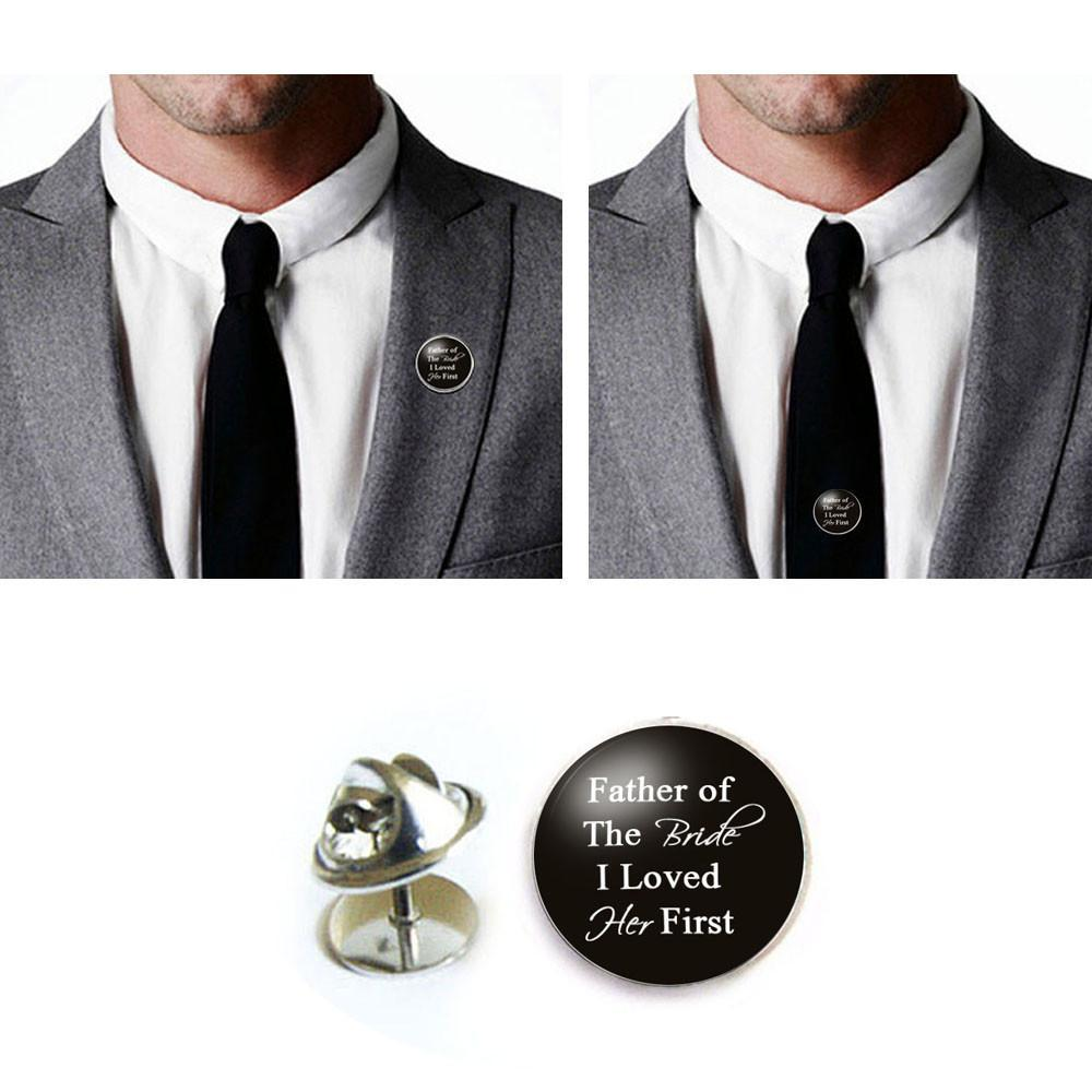 Best Father of the Bride Tie Tack, Wedding Tie Pin, Silver Lapel Pin  AA58