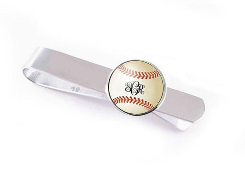 Baseball Tie Clip with Monogram, Personalized Tie Bar - Jewelrylized