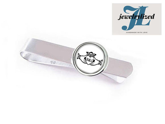 Initials Claddagh Tie Clip, Photo Tie Bar - Jewelrylized.com