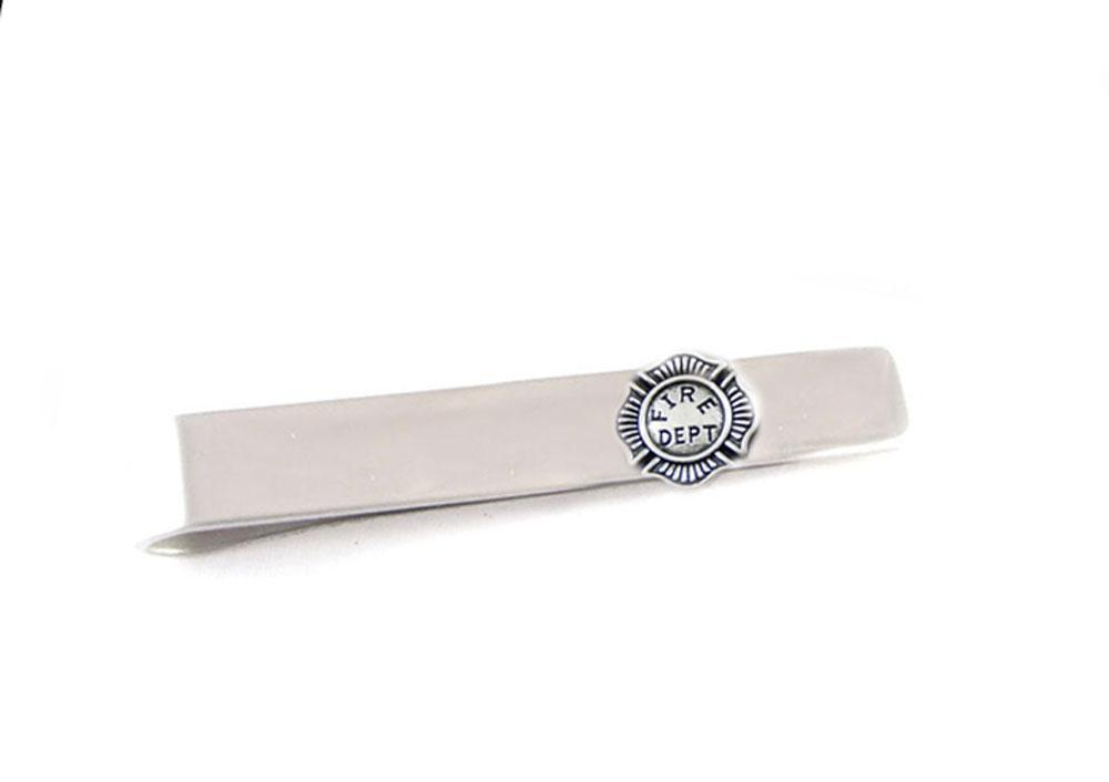Fire Department Tie Clip, Silver Tie Clasp - Jewelrylized.com