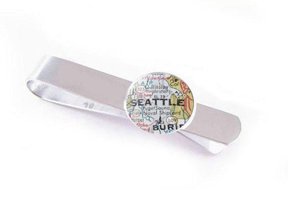 Silver Seattle Map Tie Clip, Tie Bar - Jewelrylized.com