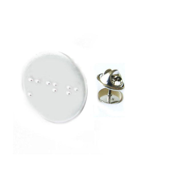 One Initial Braille Hand Stamped Tie Tack Pin - Jewelrylized.com