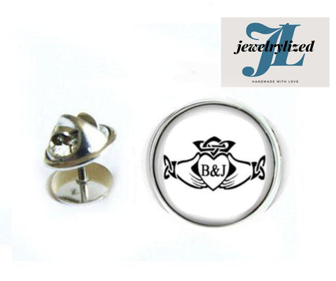 Claddagh Initials Tie Tack Pin - Jewelrylized