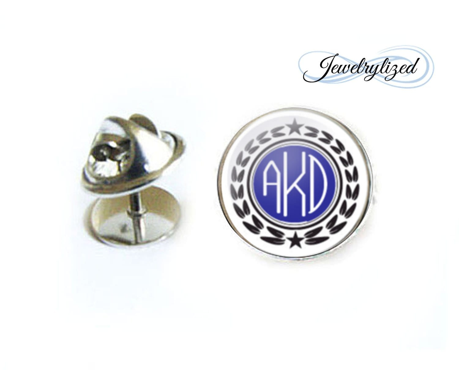 Personalized Blue Military Monogram Tie Tack Pin - Jewelrylized.com