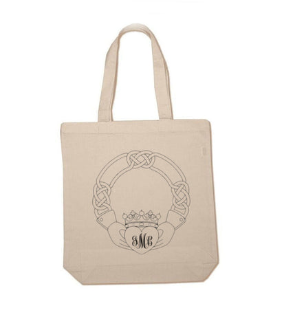 Monogram Claddagh Celtic  Cotton Tote Bag - Jewelrylized.com