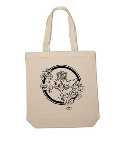 Claddagh Celtic Monogram Gusset Cotton Tote Bag - Jewelrylized.com