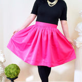 Hot Pink Matte Satin Anne Skirt- Above Knee, Midi or Ballgown length