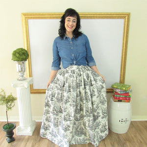 Black and White Toile Anne Skirt