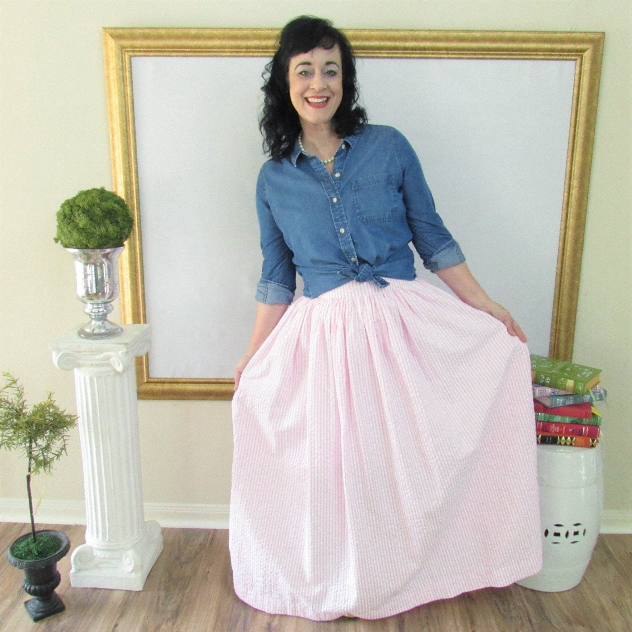 Pink and White Seersucker Anne Skirt