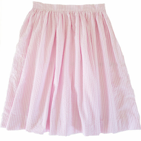 Pink and White Seersucker Anne Skirt- Knee Length, Midi or Ballgown