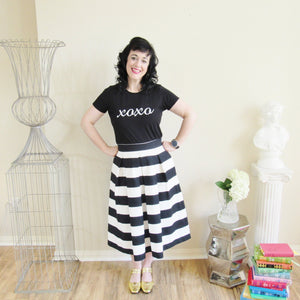 Black and White Striped Skirt
