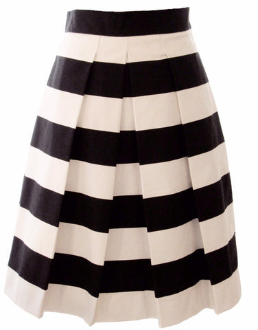 Black and White Striped Skirt - Above Knee Length, Midi, Maxi