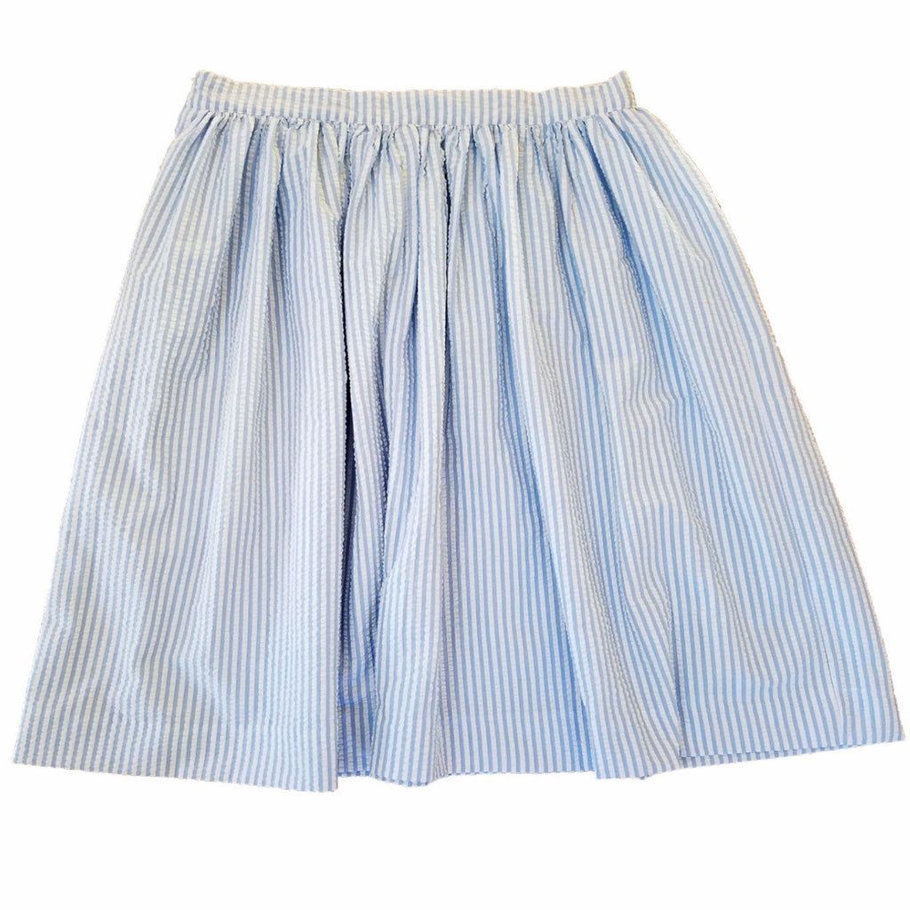 Blue and White Seersucker Anne Skirt- Knee Length, Midi or Ballgown