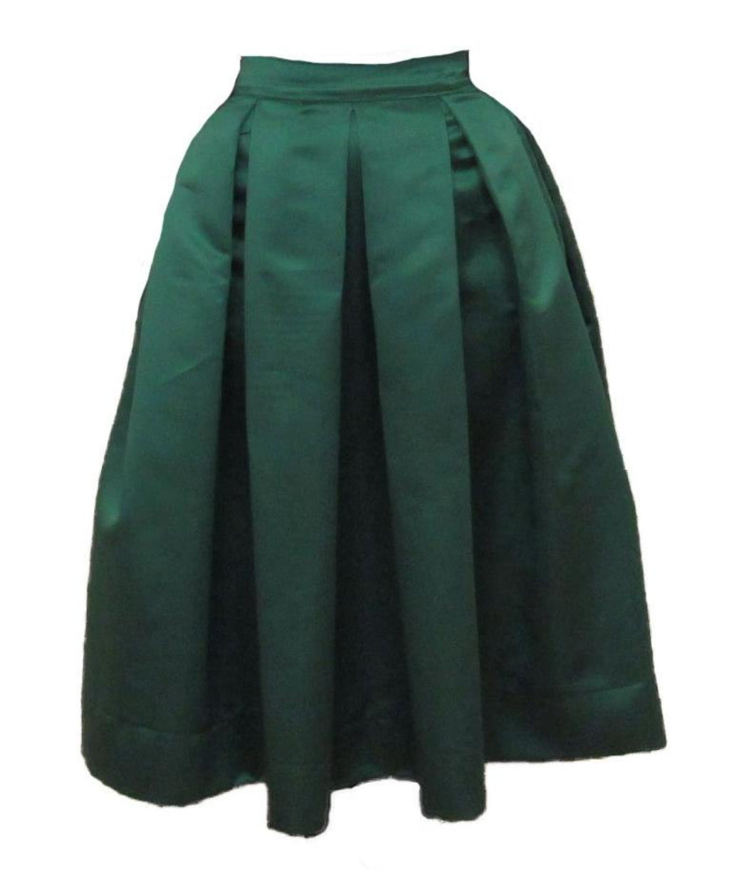 Green Pleated Duchess Satin Skirt