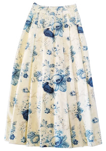 Blue and Ivory floral skirt