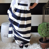Navy and White Striped Skirt - Above Knee Length, Midi, Maxi