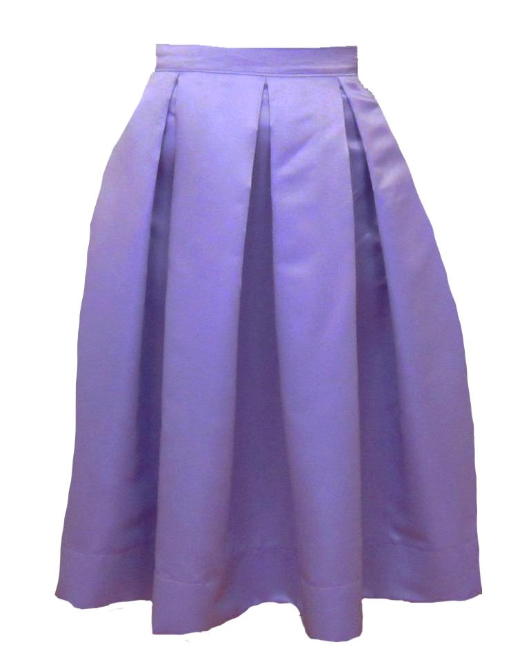 Lavender Pleated Duchess Satin Skirt