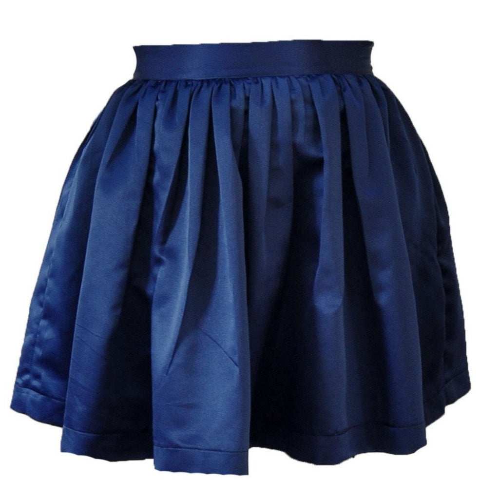 Navy Matte Satin Anne Skirt- Knee Length, Midi or Ballgown