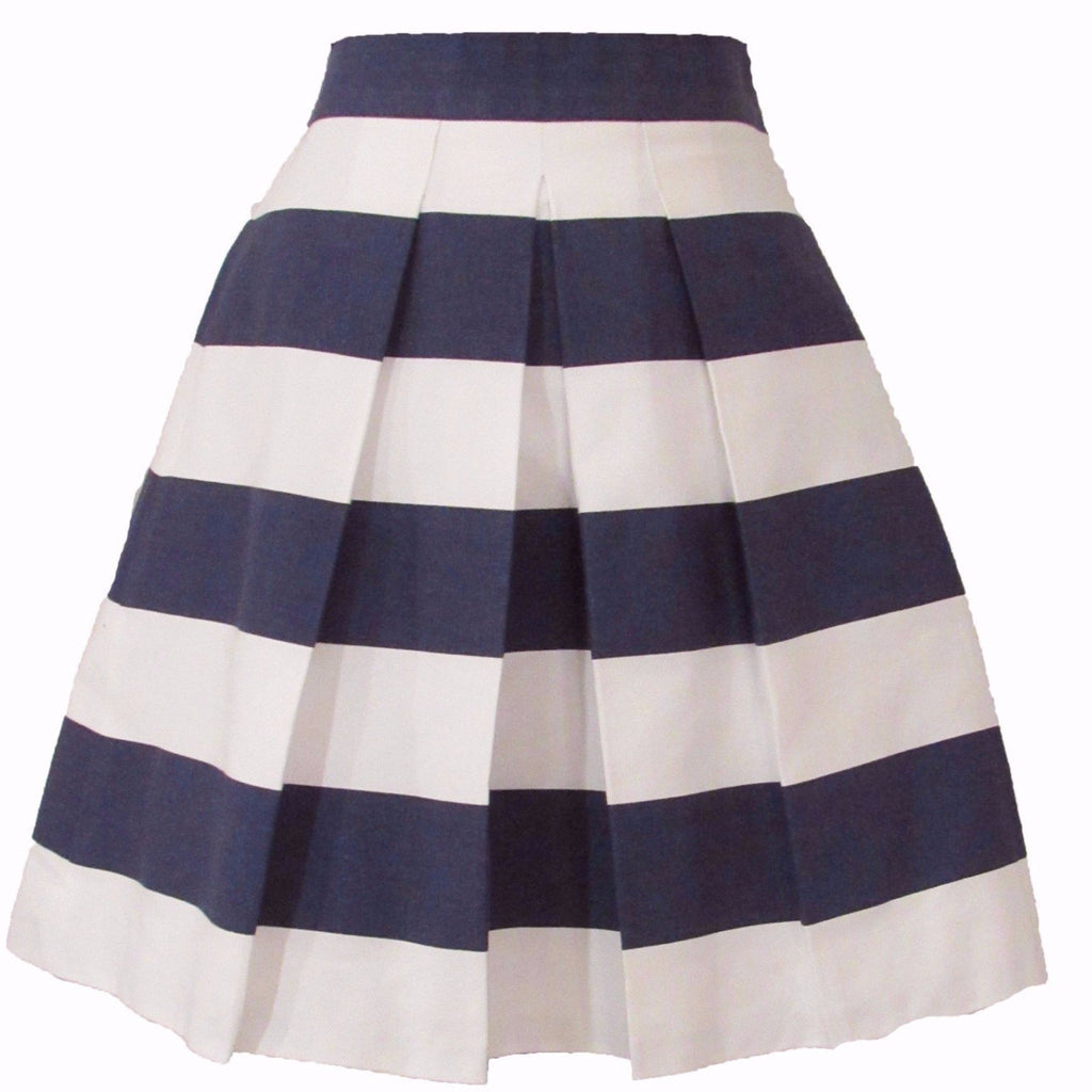 Navy and White Striped Skirt