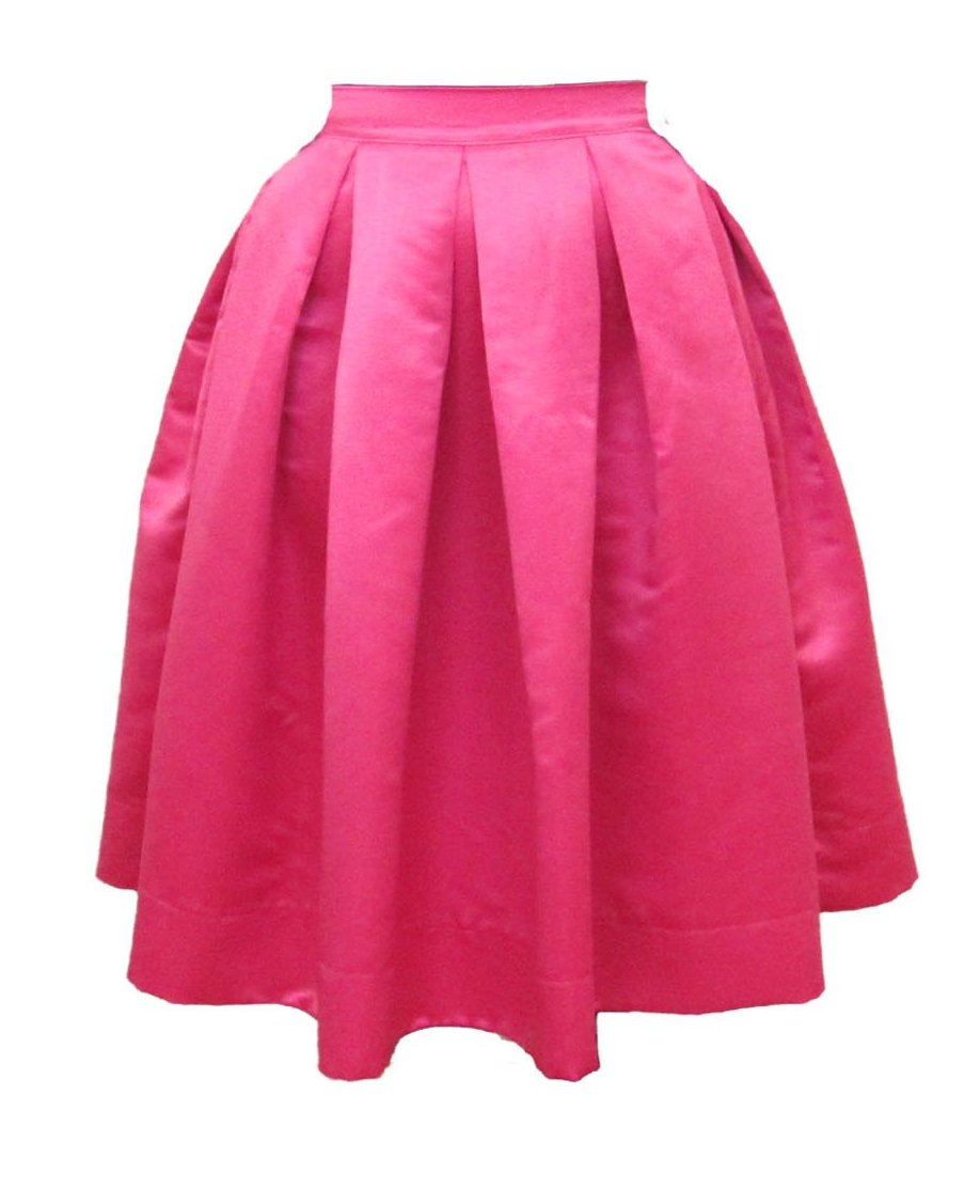 Pink Pleated Duchess Satin Skirt