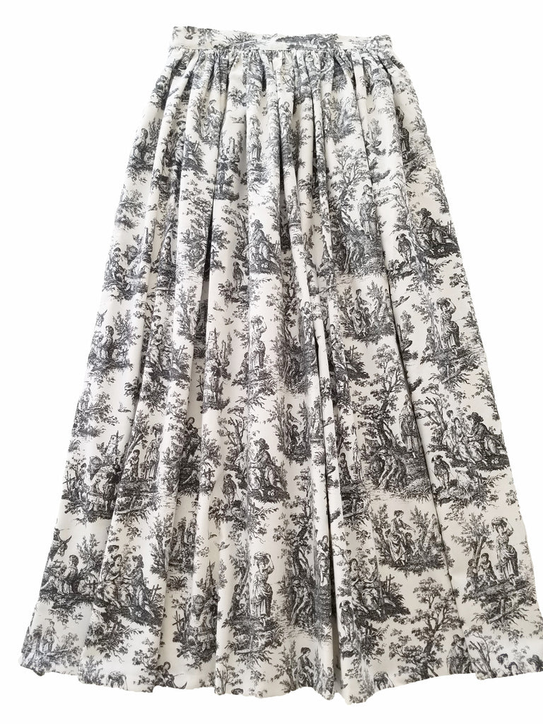 Black and White Toile Anne Skirt- Knee Length, Midi or Ballgown