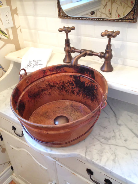bucket bathroom sink two vessel bathroom copper sink 16 x 8 12195