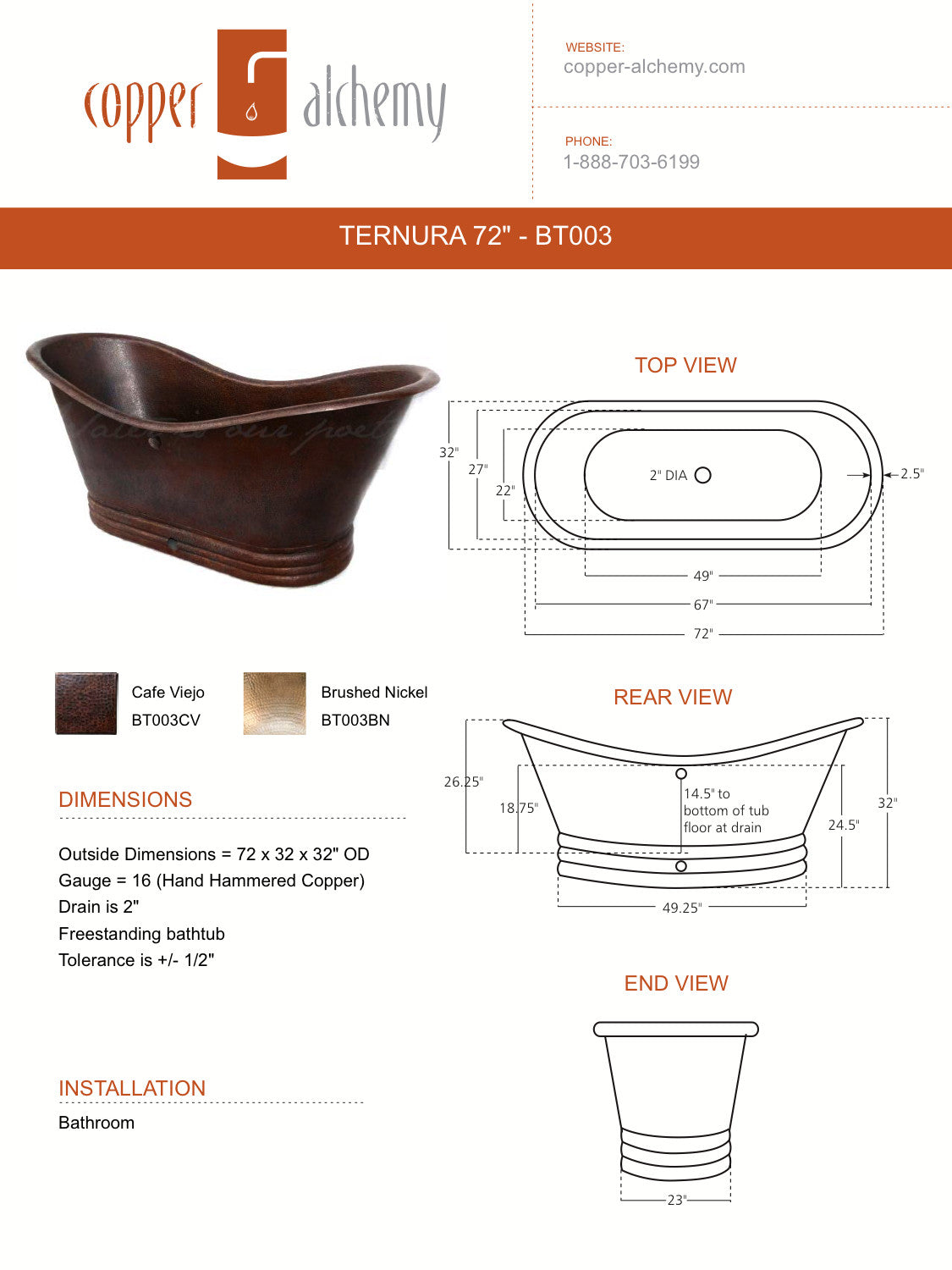SIESTA | Drop in Rectangular Copper Bathtub 72 x 36 x 22.5 ...