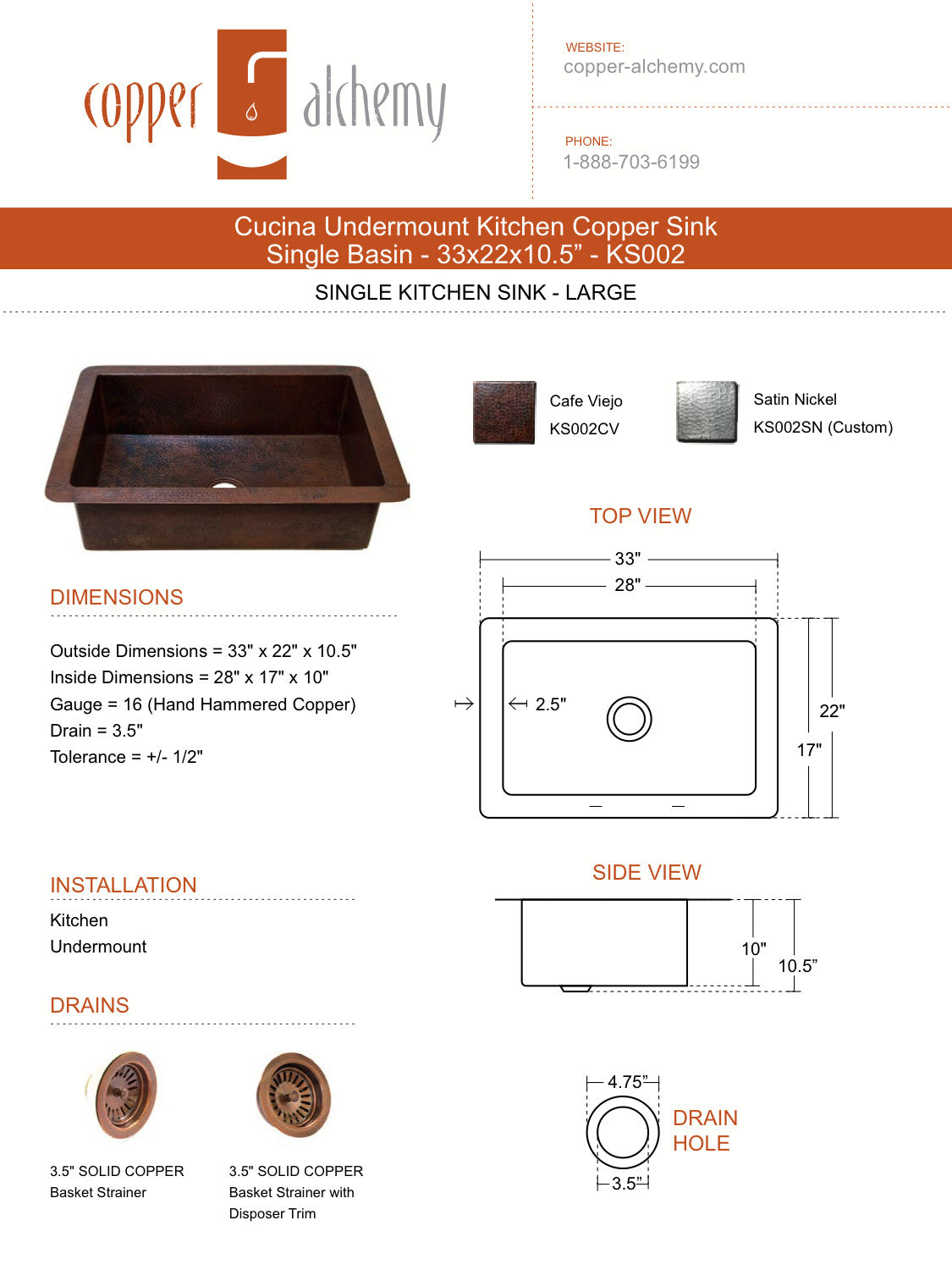 Cucina Undermount Kitchen Copper Sink - Single Basin - 33 x 22 x ...