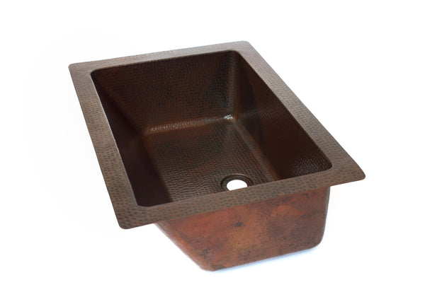 Rectangular under mount bathroom copper sink with angled for Rectangular copper bathroom sink