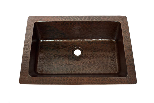 Rectangular under mount bathroom copper sink with 1 5 for Rectangular copper bathroom sink