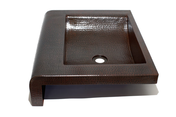 Rectangular raised profile bathroom copper sink with 5 for Rectangular copper bathroom sink