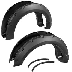 4PC Ford 1999 - 2007 F250 F350 Super Duty Pocket Rivet Style Fender Flares Black