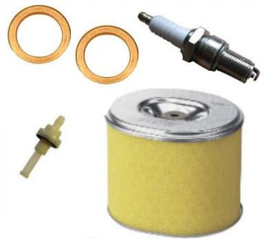 HONDA GX160 SERVICE KIT SPARK PLUG AIR FILTER COPPER WASHER FUEL PETCOCK 5.5HP