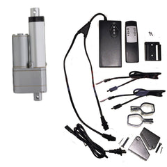 "Linear Actuator 2"" inch Stroke 12V 110V Power Supply With Remote Bracket Set"