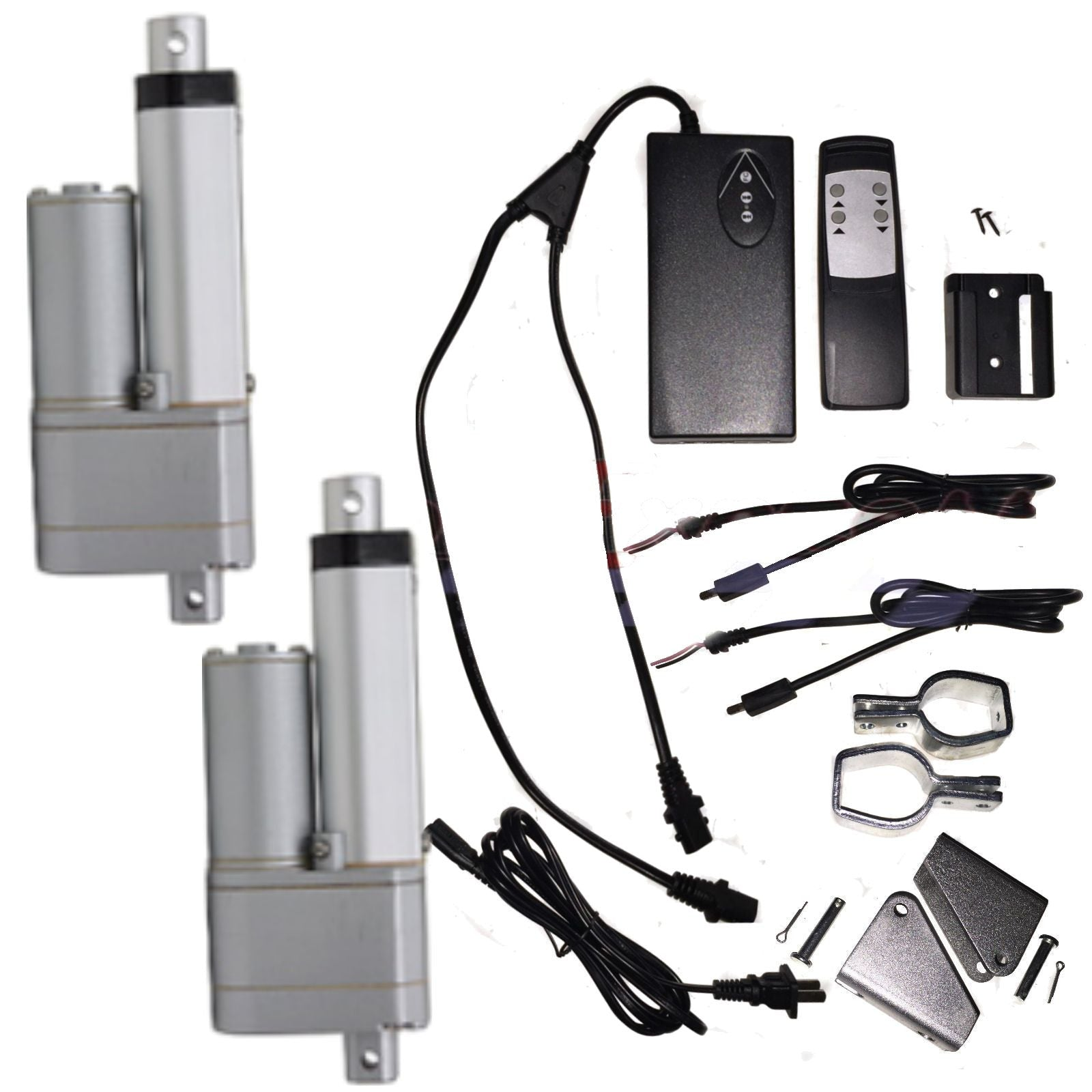 "2 Linear Actuators 4"" inch Stroke 12V 110V Power Supply With Remote and Brackets - AE-Power"