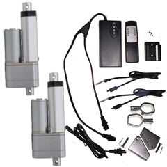 "2 Linear Actuators 4"" inch Stroke 12V 110V Power Supply With Remote Bracket Set - AE-Power"
