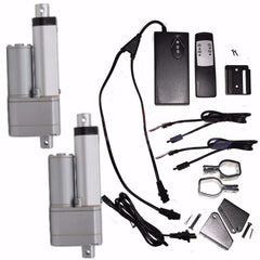 "2 Linear Actuators 2"" inch Stroke 12V 110V Power Supply With Remote and Brackets - AE-Power"