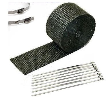 "1"" X 25' Black Heat Wrap / Stainless Cable Zip Tie Straps For Exhaust Heavy"