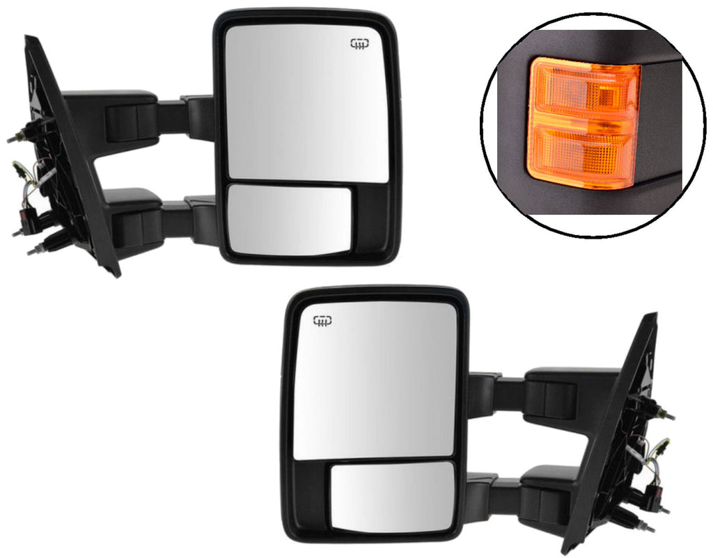Set Power Towing Mirrors Left Right Orange Tow Amber Ford Heat Signal New Black