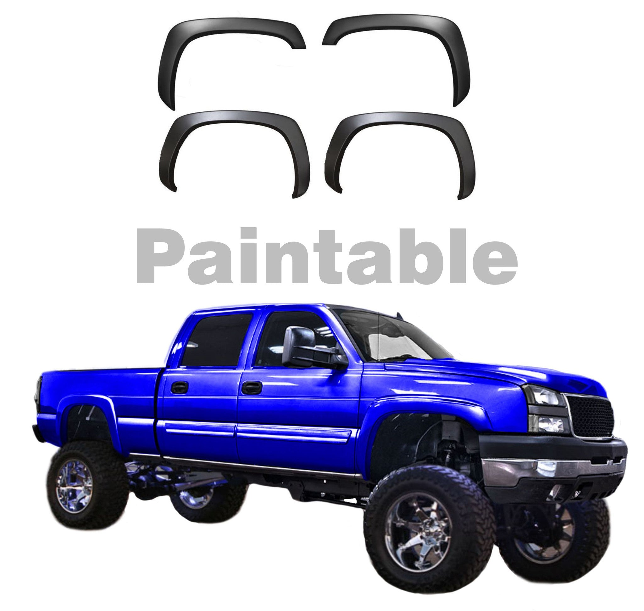 99-06 GMC SIERRA / CHEVY SILVERADO FACTORY STYLE FENDER FLARES - BLACK MATTE 4PC - AE-Power
