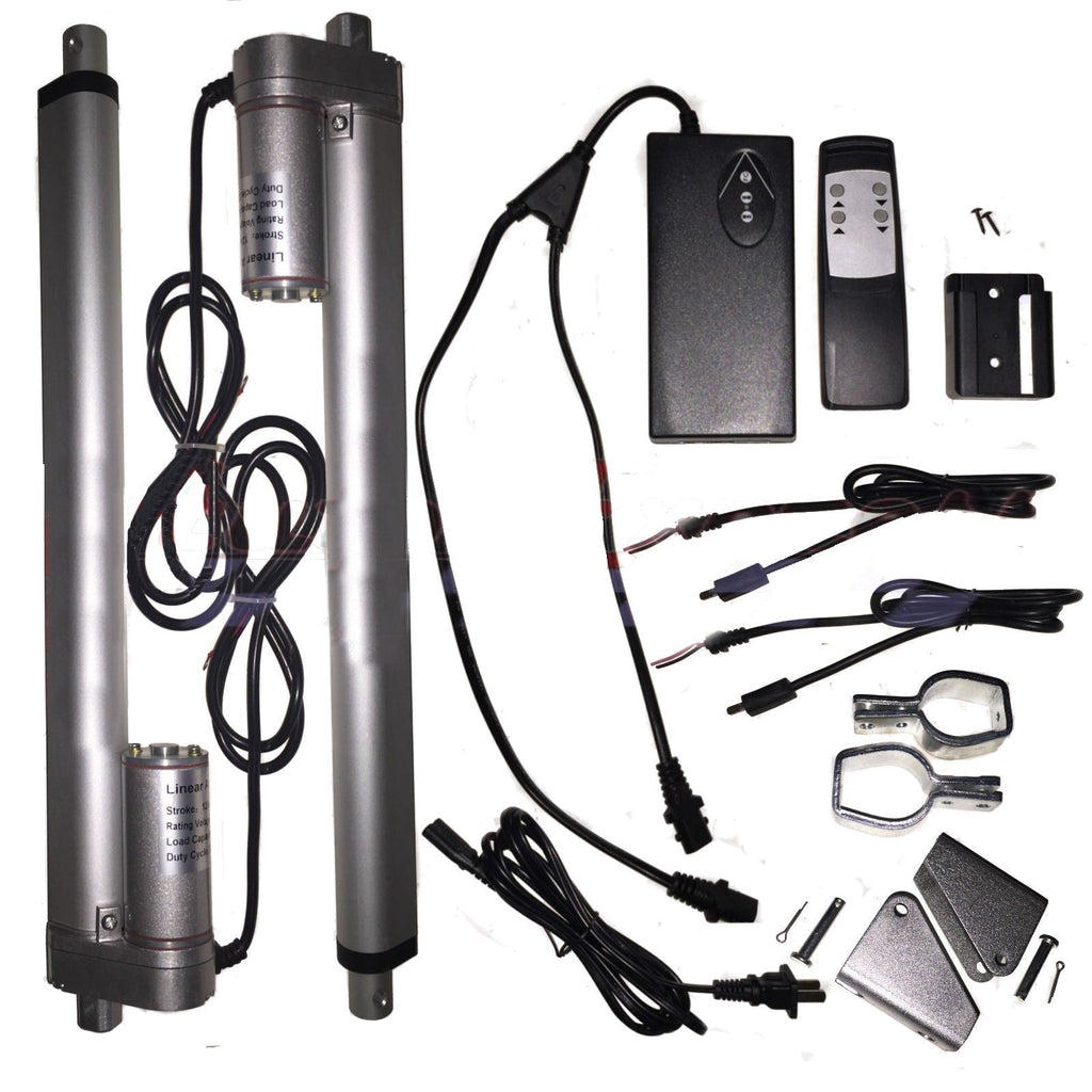 "2 Linear Actuators 22"" inch Stroke 12V 110V Power Supply With Remote Bracket Set"