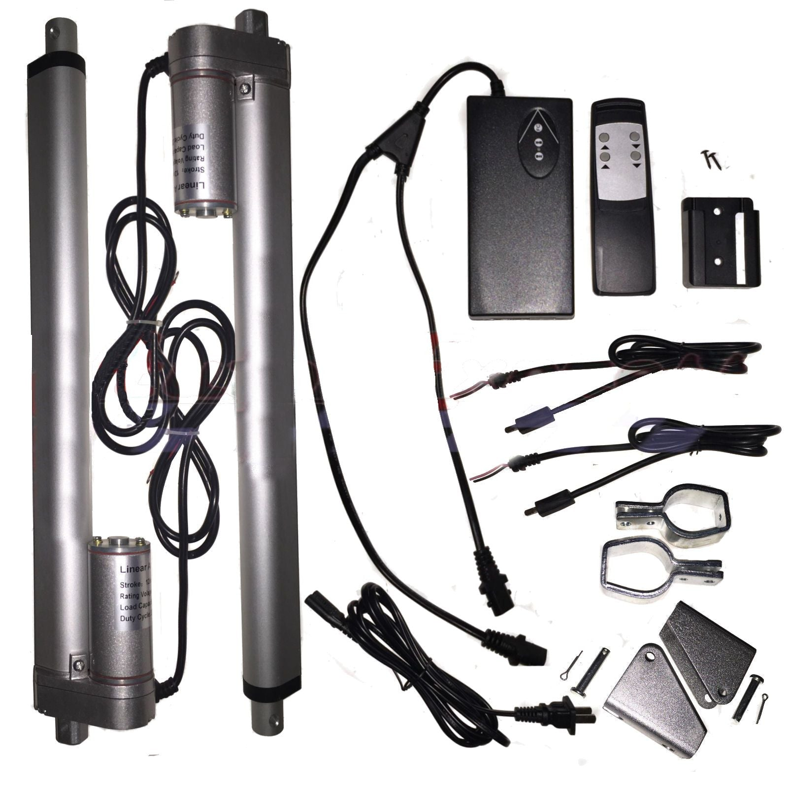 "2 Linear Actuators 18"" inch Stroke 12V 110V Power Supply With Remote Bracket Set - AE-Power"