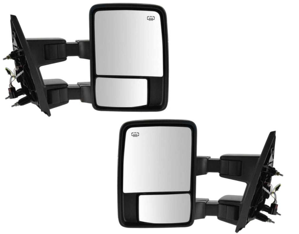 Set Towing Mirrors Manual Left Right Side Tow Black Pair Ford Super Duty New