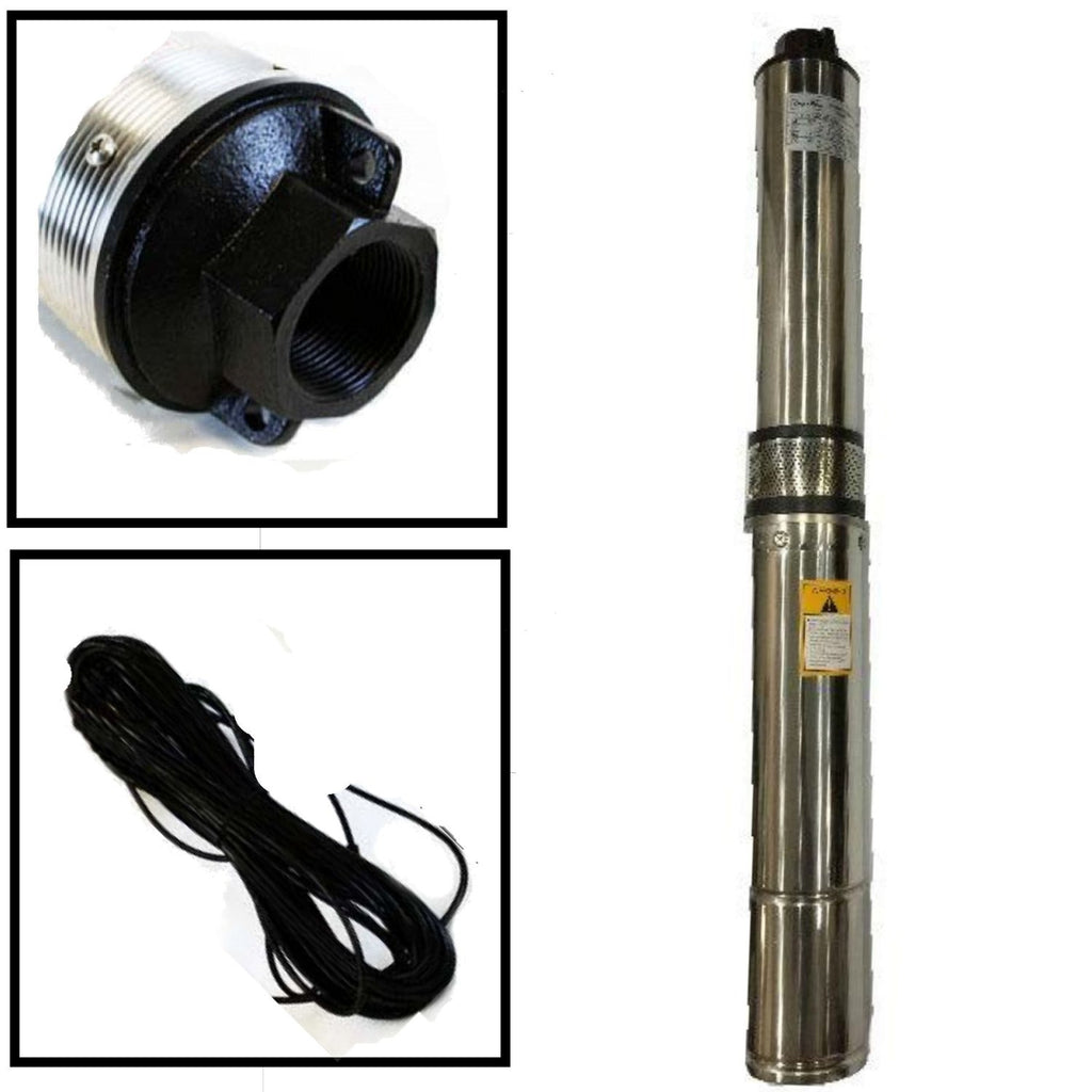 "Deep Well Submersible Pump, 4"" 1/2 HP, 220V, 25 GPM, 150 ft Max, long life"