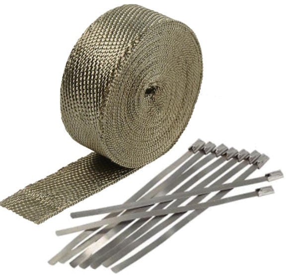 "Titanium Exhaust/Header Heat Wrap, 2"" X 50' Roll With Stainless Steel Zip Ties"