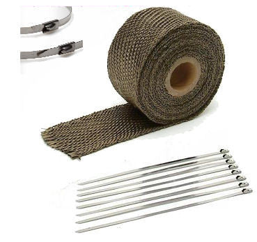 "2"" Titanium High Temperature Header Manifold Exhaust Wrap Roll Steel Zip Ties New"