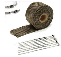 "1"" X 25' Titanium Heat Wrap / Stainless Cable Zip Tie Straps Exhaust Pipe Heavy - AE-Power"