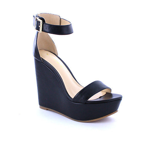 Black Wedge Sandal - Obsessive Shoe Addict